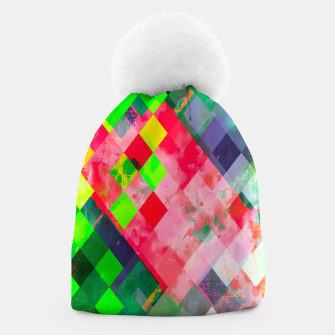 geometric square pixel pattern abstract art background in green red Beanie thumbnail image