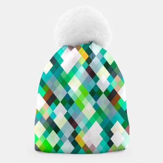 geometric square pixel pattern abstract art background in green red yellow Beanie thumbnail image