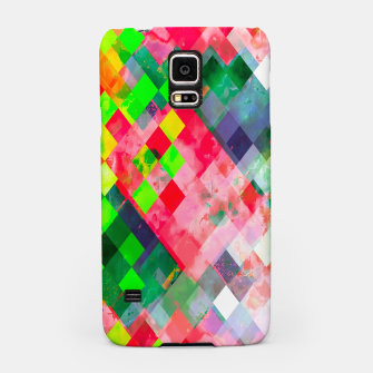 geometric square pixel pattern abstract art background in green red Samsung Case thumbnail image