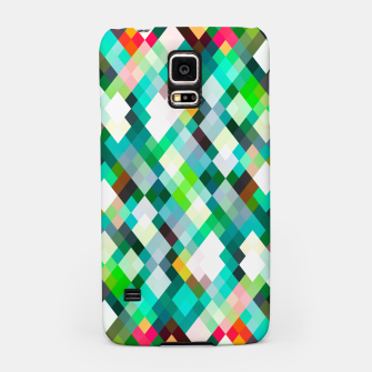 geometric square pixel pattern abstract art background in green red yellow Samsung Case thumbnail image
