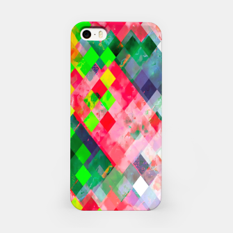 geometric square pixel pattern abstract art background in green red iPhone Case thumbnail image