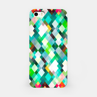 geometric square pixel pattern abstract art background in green red yellow iPhone Case thumbnail image