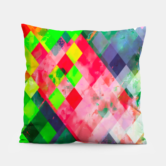 geometric square pixel pattern abstract art background in green red Pillow thumbnail image