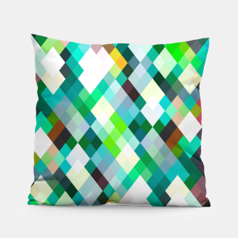 geometric square pixel pattern abstract art background in green red yellow Pillow thumbnail image