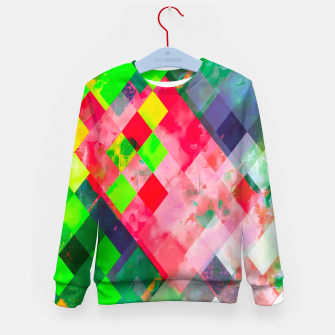 geometric square pixel pattern abstract art background in green red Kid's sweater thumbnail image