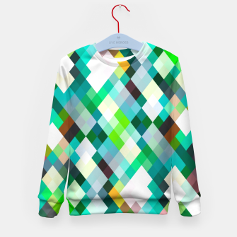 geometric square pixel pattern abstract art background in green red yellow Kid's sweater thumbnail image