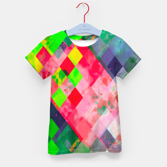 geometric square pixel pattern abstract art background in green red Kid's t-shirt thumbnail image