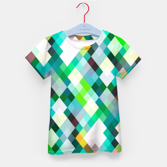 geometric square pixel pattern abstract art background in green red yellow Kid's t-shirt thumbnail image