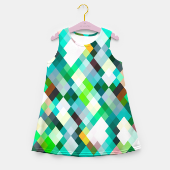 geometric square pixel pattern abstract art background in green red yellow Girl's summer dress thumbnail image