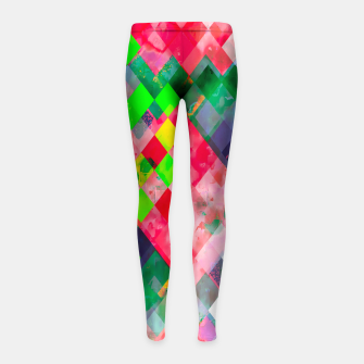 geometric square pixel pattern abstract art background in green red Girl's leggings thumbnail image