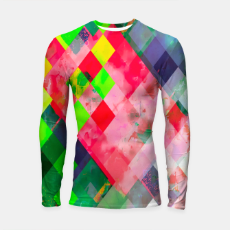 geometric square pixel pattern abstract art background in green red Longsleeve rashguard  thumbnail image
