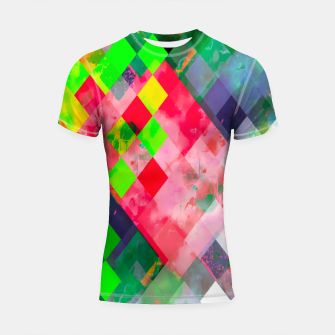 geometric square pixel pattern abstract art background in green red Shortsleeve rashguard thumbnail image