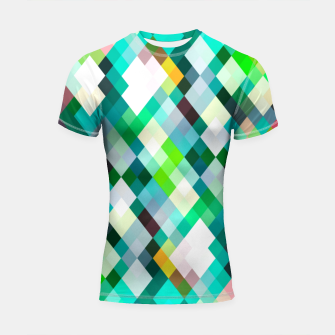 geometric square pixel pattern abstract art background in green red yellow Shortsleeve rashguard thumbnail image