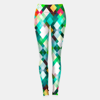 geometric square pixel pattern abstract art background in green red yellow Leggings thumbnail image