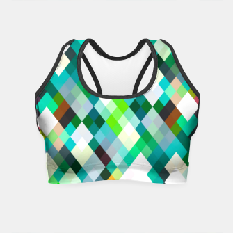 geometric square pixel pattern abstract art background in green red yellow Crop Top thumbnail image