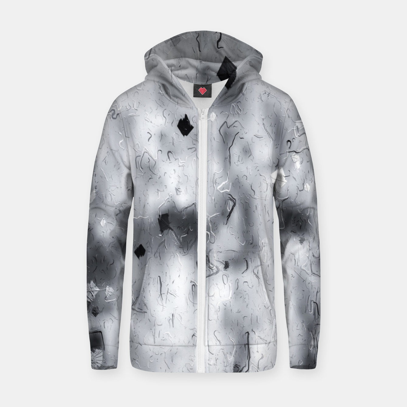 Image of painting texture abstract background in black and white Zip up hoodie - Live Heroes