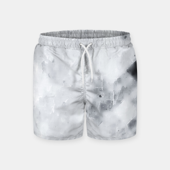 geometric square pixel pattern abstract painting in black and white Swim Shorts thumbnail image