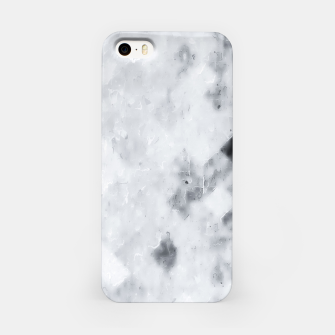 geometric square pixel pattern abstract painting in black and white iPhone Case thumbnail image