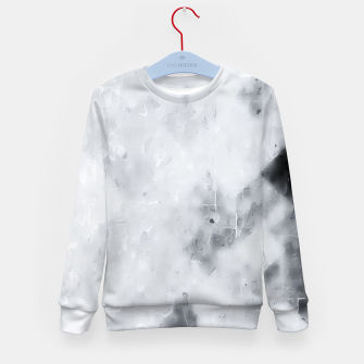 geometric square pixel pattern abstract painting in black and white Kid's sweater thumbnail image