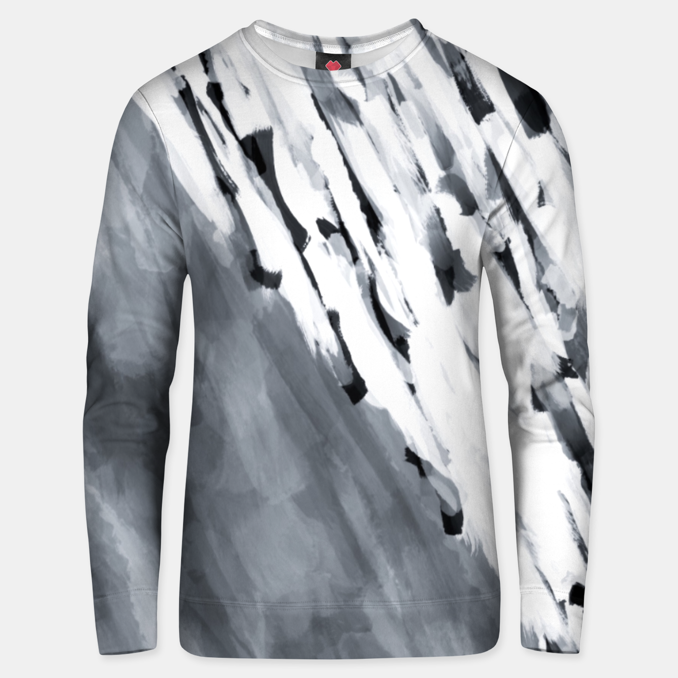 Image of line pattern painting texture abstract in black and white Unisex sweater - Live Heroes