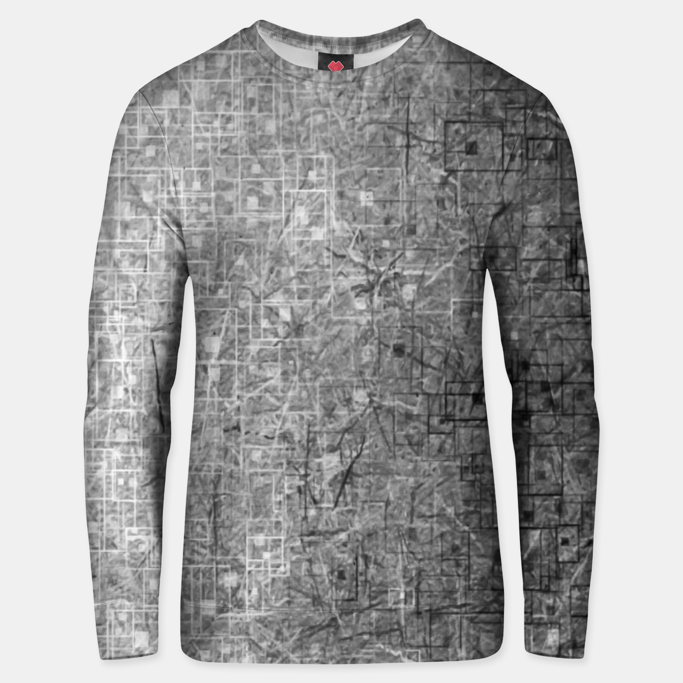 Image of geometric square pattern abstract background in black and white Unisex sweater - Live Heroes