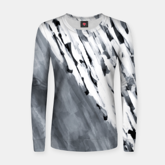 line pattern painting texture abstract in black and white Women sweater thumbnail image