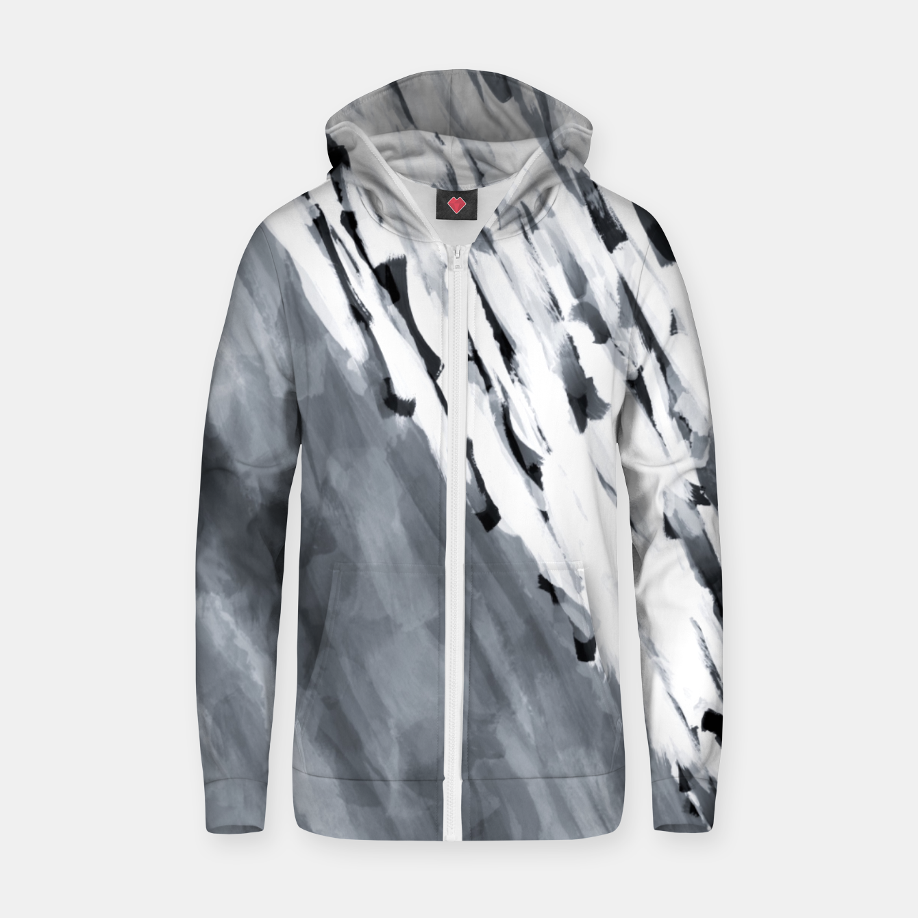 Image of line pattern painting texture abstract in black and white Zip up hoodie - Live Heroes