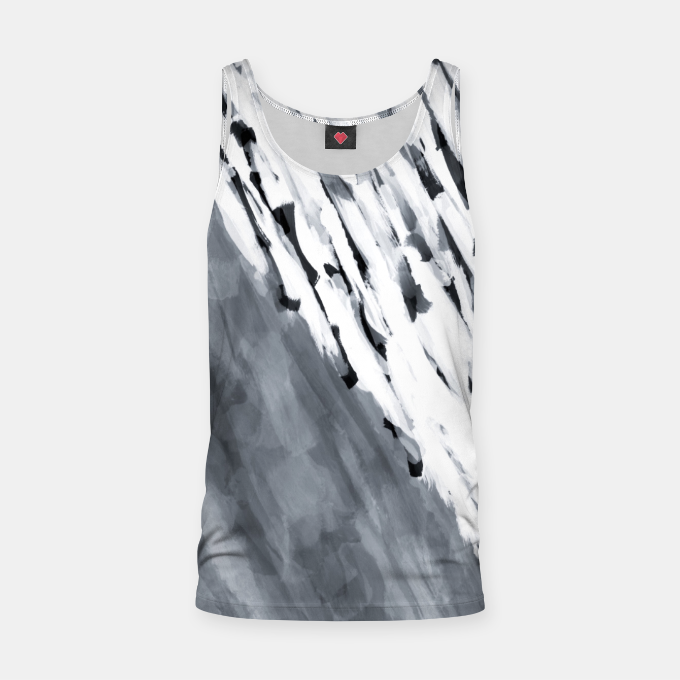 Image of line pattern painting texture abstract in black and white Tank Top - Live Heroes
