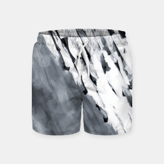 line pattern painting texture abstract in black and white Swim Shorts thumbnail image