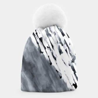 line pattern painting texture abstract in black and white Beanie thumbnail image