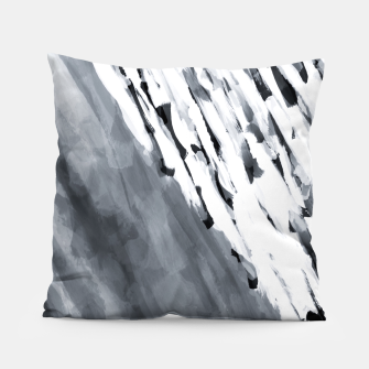 line pattern painting texture abstract in black and white Pillow thumbnail image