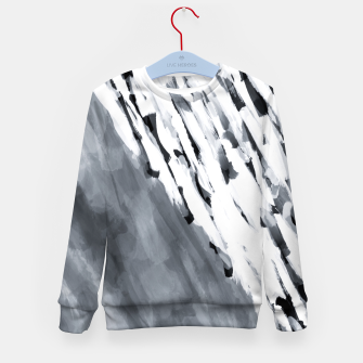 line pattern painting texture abstract in black and white Kid's sweater thumbnail image