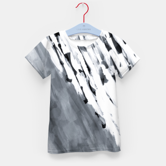 line pattern painting texture abstract in black and white Kid's t-shirt thumbnail image