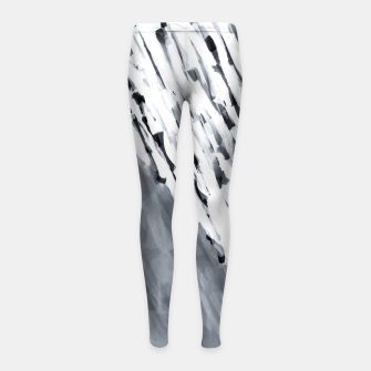 line pattern painting texture abstract in black and white Girl's leggings thumbnail image