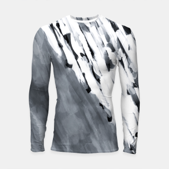 line pattern painting texture abstract in black and white Longsleeve rashguard  thumbnail image
