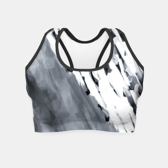 line pattern painting texture abstract in black and white Crop Top thumbnail image