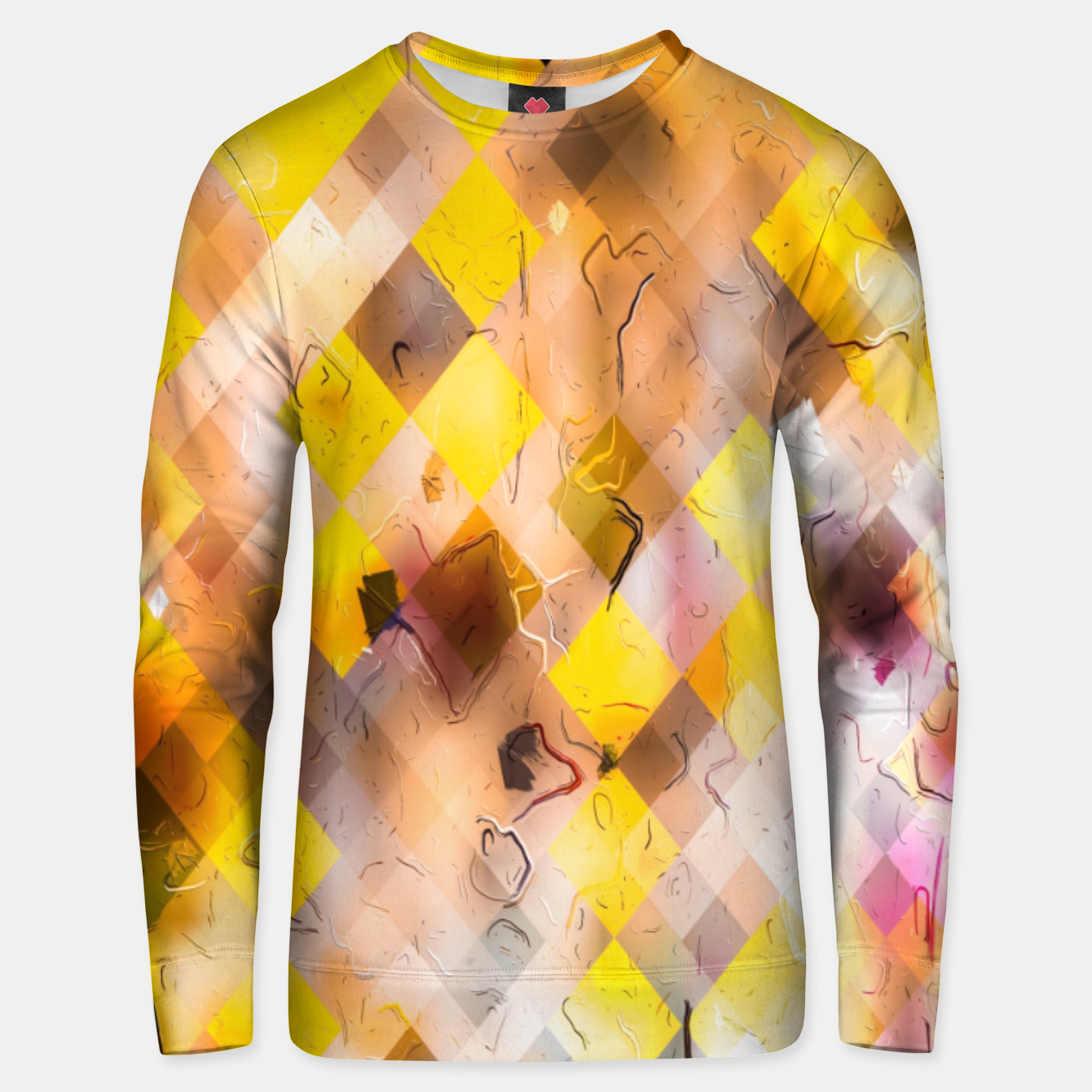 Image of geometric square pixel pattern abstract in yellow brown pink Unisex sweater - Live Heroes