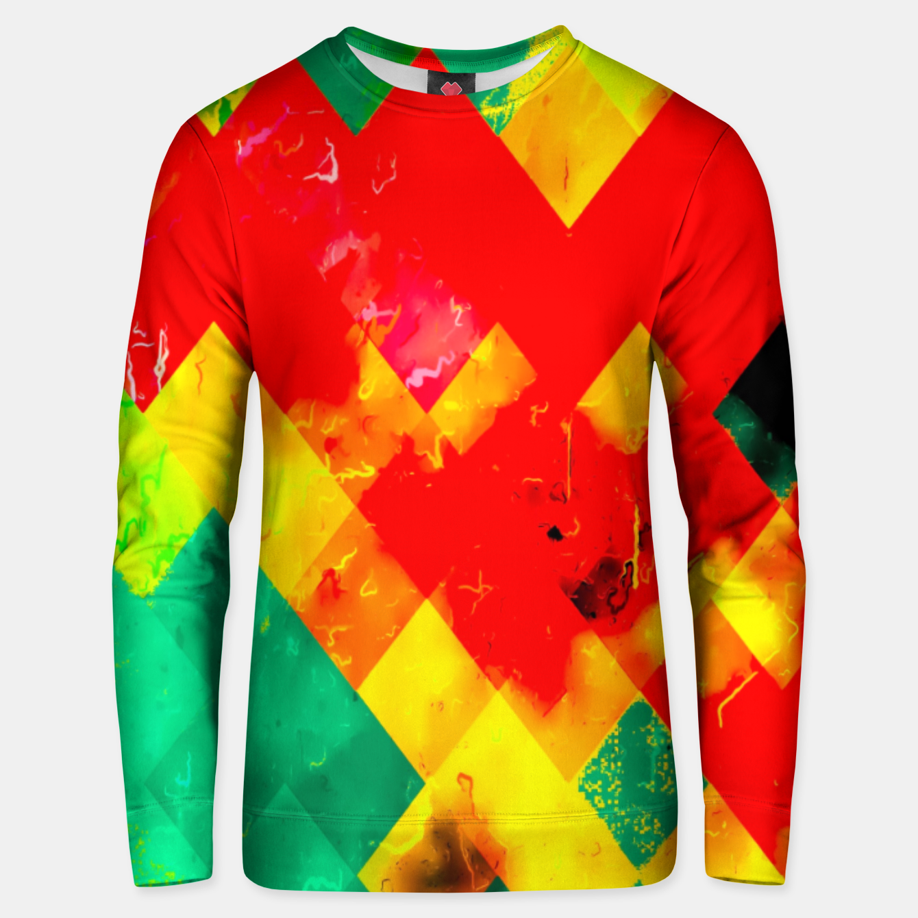 Image of geometric square pixel pattern abstract in red yellow green Unisex sweater - Live Heroes