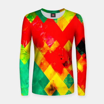 geometric square pixel pattern abstract in red yellow green Women sweater thumbnail image