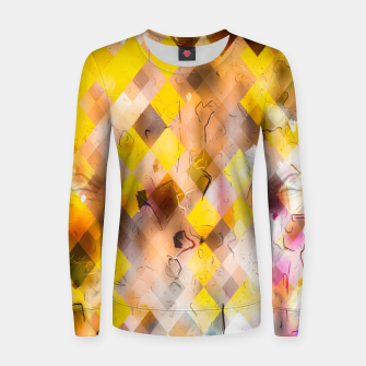 geometric square pixel pattern abstract in yellow brown pink Women sweater thumbnail image