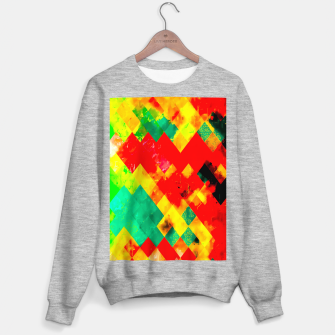 geometric square pixel pattern abstract in red yellow green Sweater regular thumbnail image
