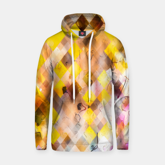 geometric square pixel pattern abstract in yellow brown pink Hoodie thumbnail image