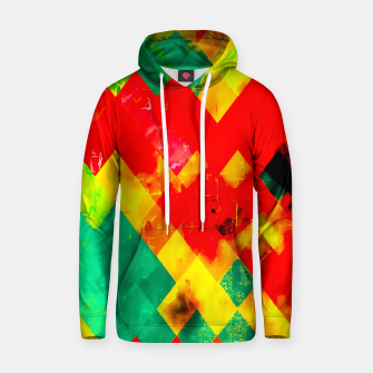 geometric square pixel pattern abstract in red yellow green Hoodie thumbnail image