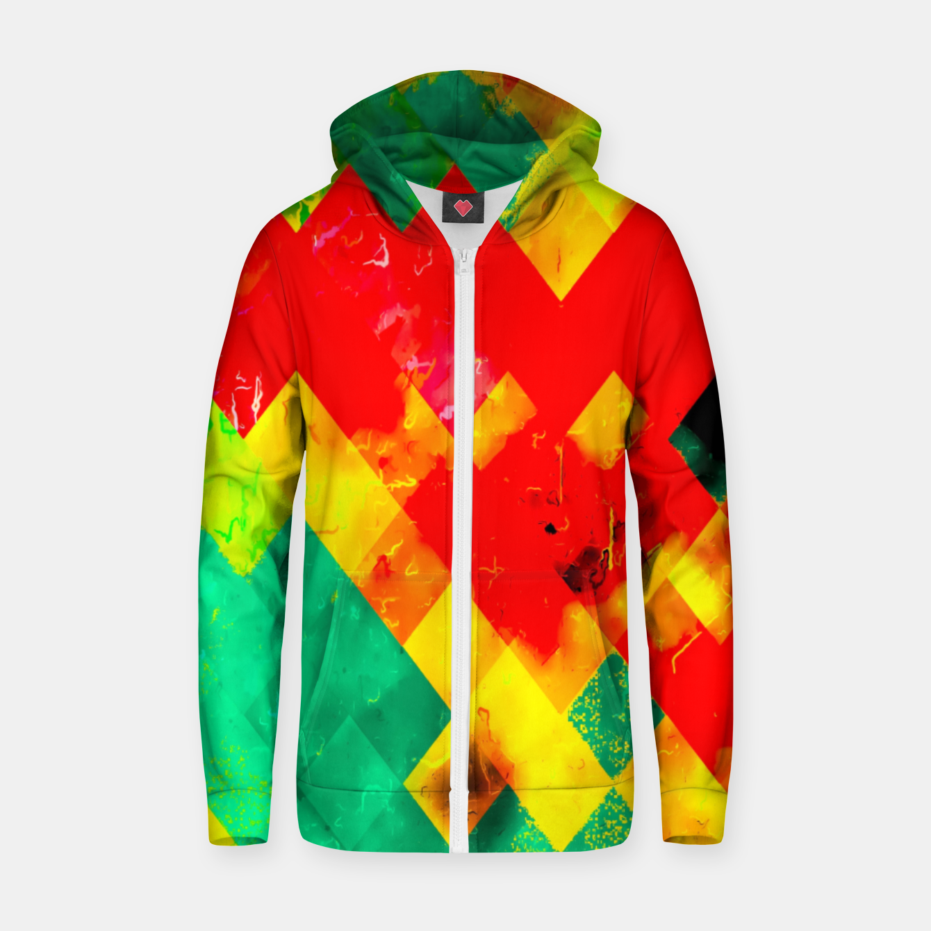 Image of geometric square pixel pattern abstract in red yellow green Zip up hoodie - Live Heroes