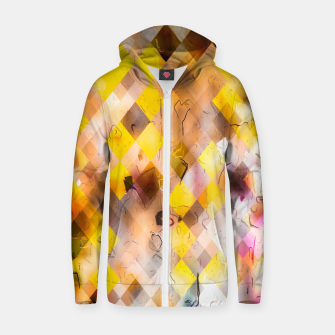 geometric square pixel pattern abstract in yellow brown pink Zip up hoodie thumbnail image