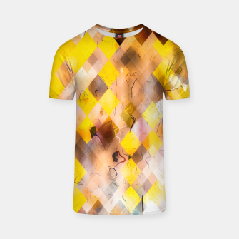 geometric square pixel pattern abstract in yellow brown pink T-shirt thumbnail image