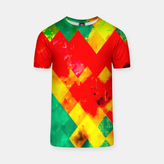geometric square pixel pattern abstract in red yellow green T-shirt thumbnail image