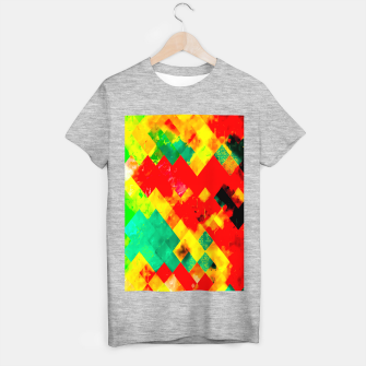 geometric square pixel pattern abstract in red yellow green T-shirt regular thumbnail image
