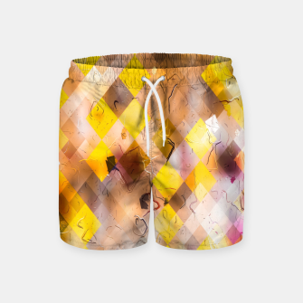 geometric square pixel pattern abstract in yellow brown pink Swim Shorts thumbnail image