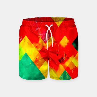 geometric square pixel pattern abstract in red yellow green Swim Shorts thumbnail image